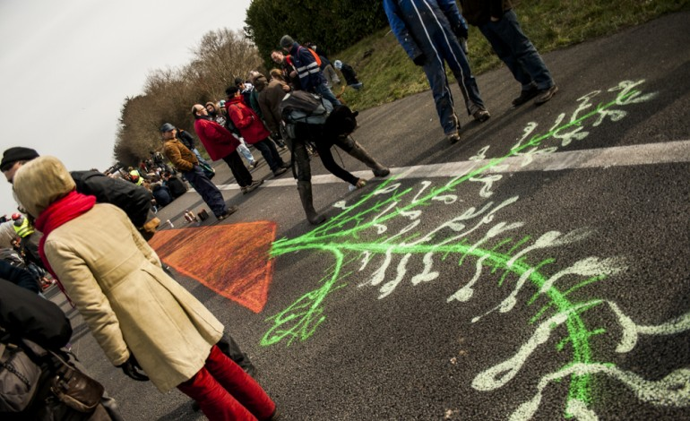 Manifestation contre l'aéroport de NDDL sur l'autoroute qui borde la ZAD. (©Martin Bertrand/Worldzine)