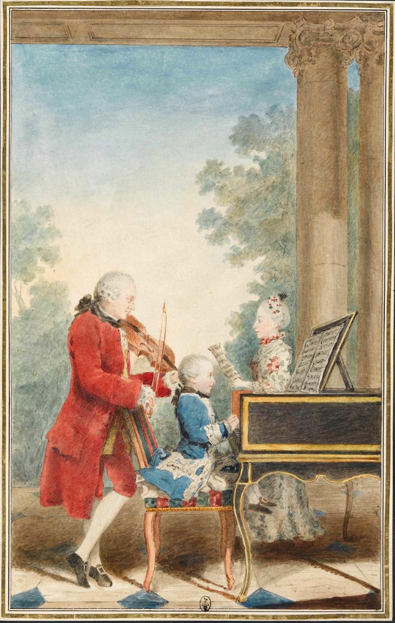 Portrait de Wolfgang Amadeus Mozart jouant à Paris avec son père Jean-Georg-Léopold et sa sœur Maria-Anna, par Carmontelle, 1763